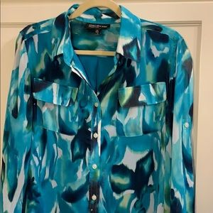 Blue teal green Blouse with adjustable sleeves